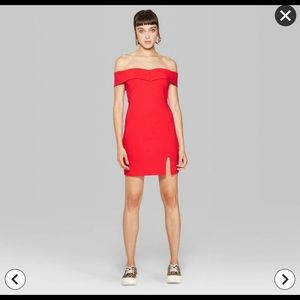 NWT Wild Fable Red Off-Shoulder Knit Mini Dress